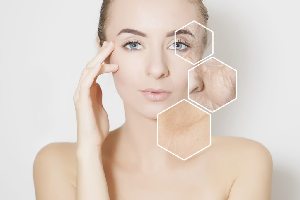 woman beauty face portrait with visualisation of old skin hexagons